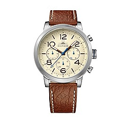 Tommy Hilfiger - Men's brown leather chronograph watch