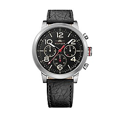 Tommy Hilfiger - Men's black leather chronograph watch