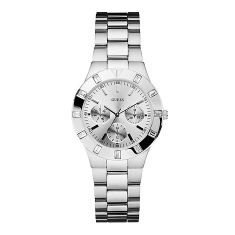 Guess - Ladies silver stone bezel watch