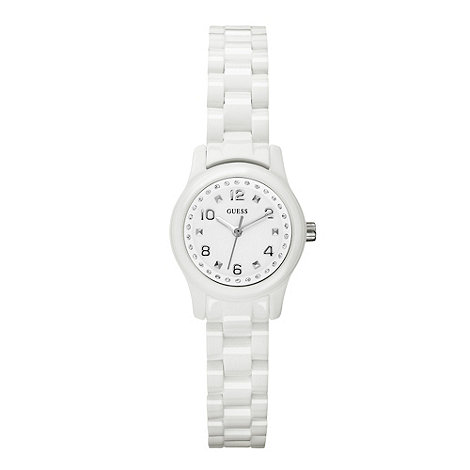 Guess - Ladies white round dial bracelet watch