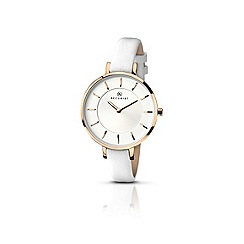Accurist - Ladies white leather strap watch