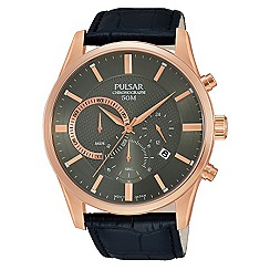 Pulsar - Men's rose gold plated chronograph strap watch