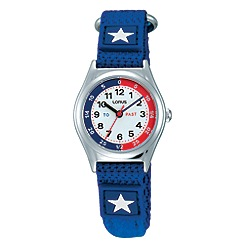 Lorus - Children's Time Teach blue nylon strap watch