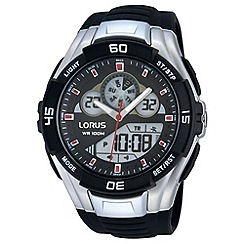 Lorus - Unisex digital chronograph on black silicone strap