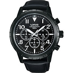 Lorus - Men's carbonised titanium coated chronograph leather strap watch