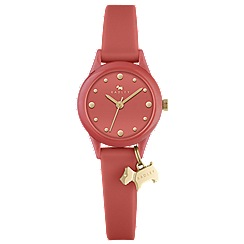 Radley - Ladies papaya and gold 'Watch It!' silicone watch