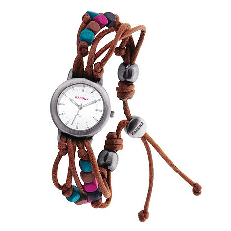 Kahuna - Ladies brown beaded watch