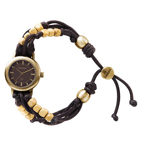 Kahuna - Ladies brown cord bracelet watch