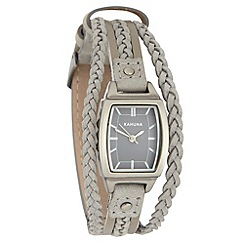 Kahuna - Ladies grey plaited strap watch