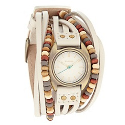 Kahuna - Ladies white beaded strap watch