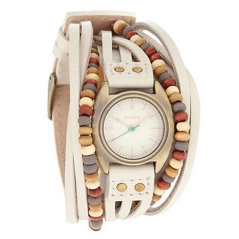 Kahuna - Ladies white beaded strap watch