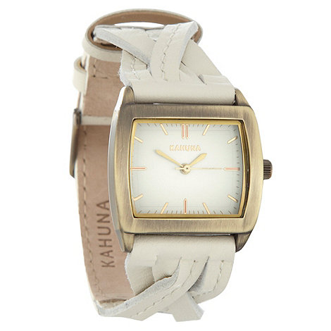 Kahuna - Ladies white plaited leather strap watch