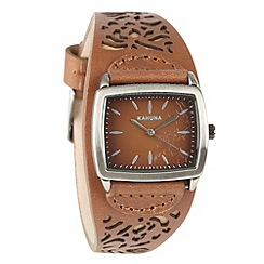 Kahuna - Ladies tan cut out leather strap watch