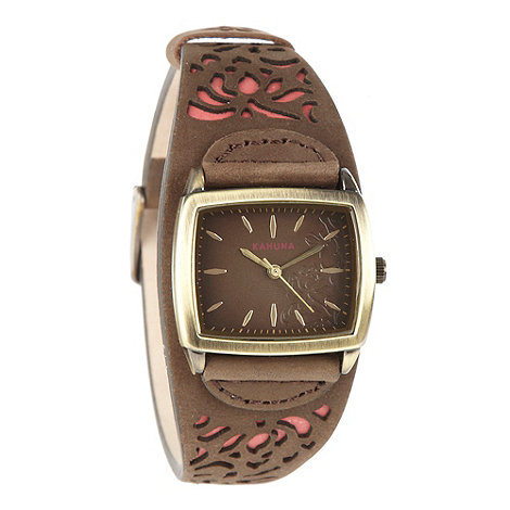 Kahuna - Ladies brown cut out leather strap watch