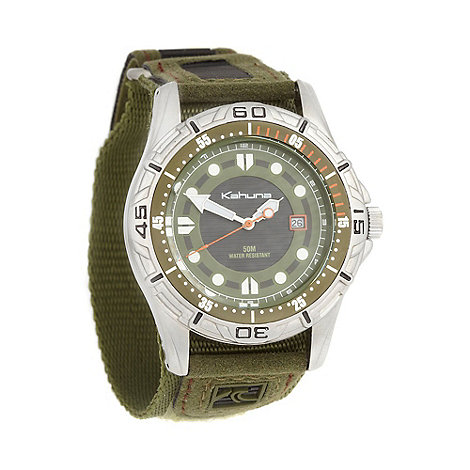 Kahuna - Men+s olive canvas strapped watch