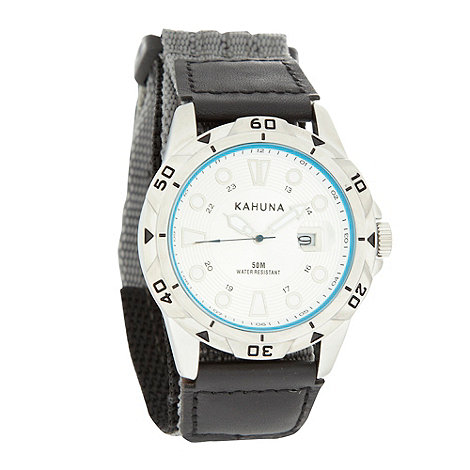 Kahuna - Men+s silver date featured analogue dial watch