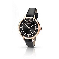 Sekonda - Ladies rose gold black leather watch