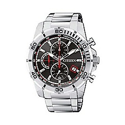 Citizen - Men's silver tone chronograph watch an3490-55e