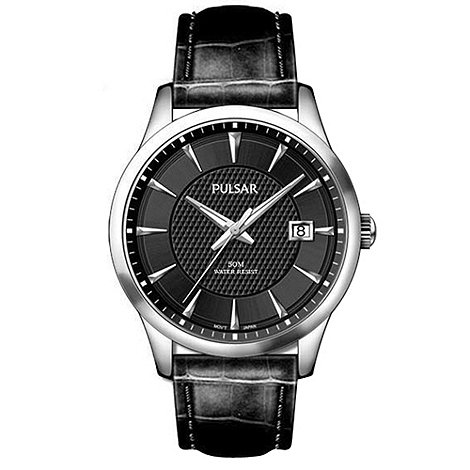 Pulsar - Men+s black dial watch