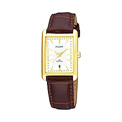 Pulsar - Ladies brown rectangular dial watch