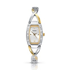 Sekonda - Ladies chrome coloured two-tone semi-bangle bracelet watch