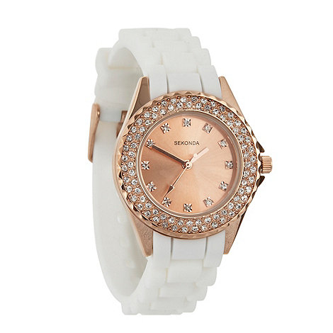 Sekonda - Ladies +partytime+ white stone bezel watch