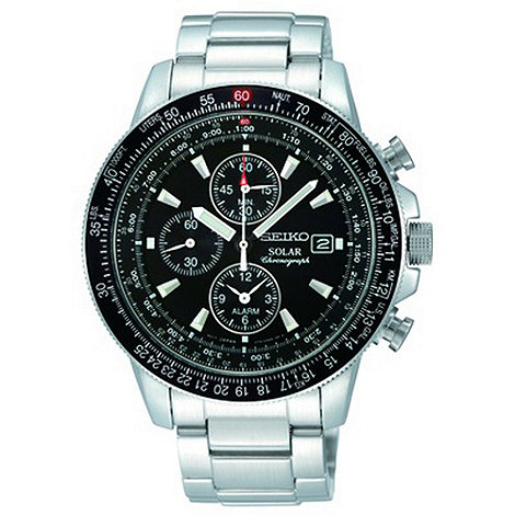 Seiko - Men+s silver chronograph watch