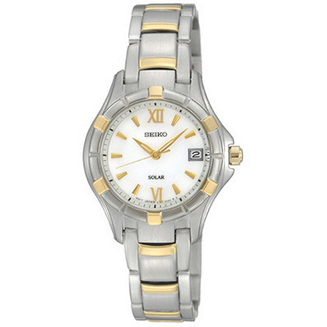 Seiko - Ladies silver contrasting panelled watch