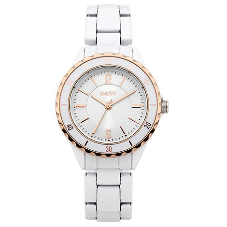 Oasis - Ladies white and gold scalloped case watch