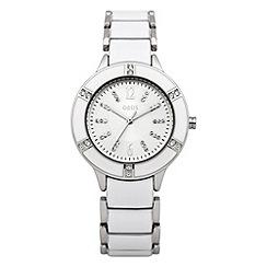 Oasis - Ladies white diamante and enamel watch