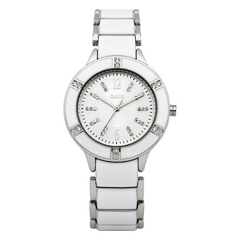Oasis - Ladies white diamante and enamel watch