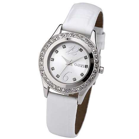 Oasis - Ladies white diamante case watch