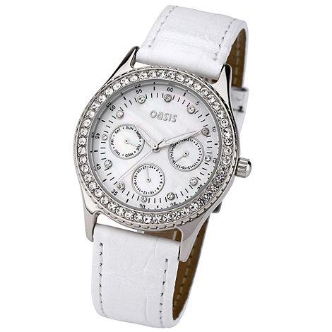 Oasis - Ladies white diamante chronograph dial watch