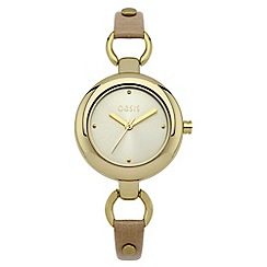 Oasis - Ladies beige leather strap watch