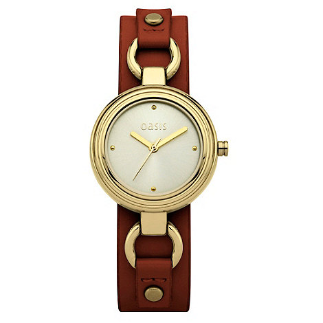 Oasis - Ladies tan leather strap watch