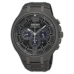 Seiko - Men's black plated solar chronograph watch