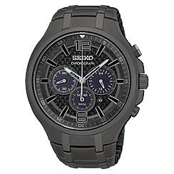 Seiko - Men's black plated solar chronograph watch