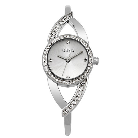 Oasis - Ladies silver half bangle bracelet watch