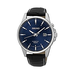 Seiko - Men's black kinetic leather watch