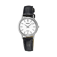 Seiko - Ladies black solar leather watch