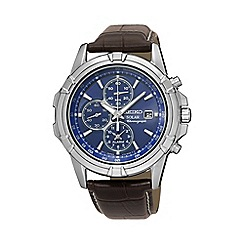 Seiko - Men's brown solar chronograph leather watch ssc141p2