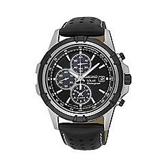 Seiko - Men's black solar chronograph leather watch