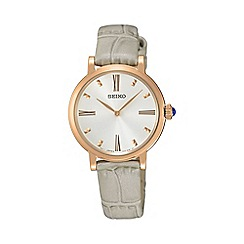 Seiko - Ladies rose gold quartz leather watch sfq812p1