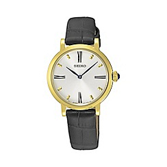 Seiko - Ladies gold quartz leather watch sfq814p2