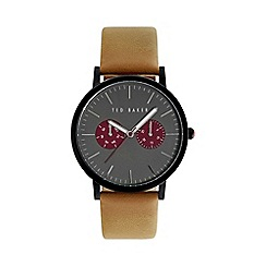 Ted Baker - Men's grey and  tan leather strap watch te10024783