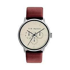 Ted Baker - Men's cream dial burgundy leather strap watch