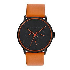 Ted Baker - Men's black dial orange leather strap