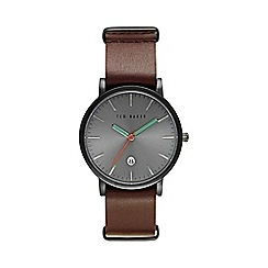 Ted Baker - Men's grey and brown leather strap watch