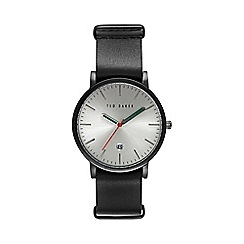 Ted Baker - Men's silver dial black leather strap watch