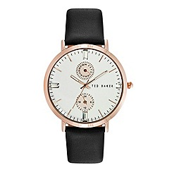 Ted Baker - Ladies white dial black leather strap watch
